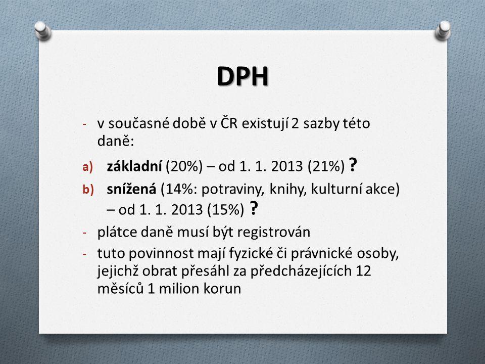 DPH v současné době v ČR existují 2 sazby této daně:
