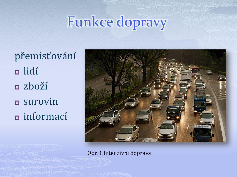 Funkce dopravy přemísťování lidí zboží surovin informací