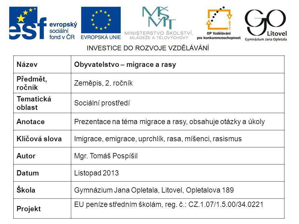 Název Obyvatelstvo – migrace a rasy. Předmět, ročník. Zeměpis, 2. ročník. Tematická oblast. Sociální prostředí.