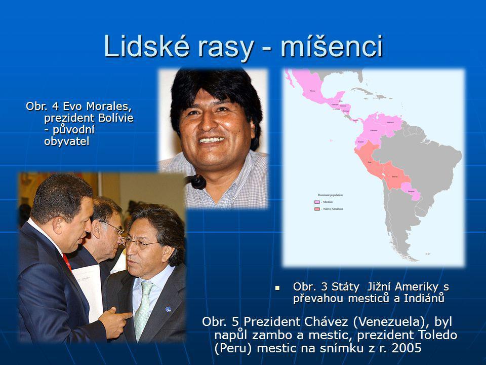 Lidské rasy - míšenci Obr. 4 Evo Morales, prezident Bolívie - původní obyvatel. Obr. 3 Státy Jižní Ameriky s převahou mesticů a Indiánů.
