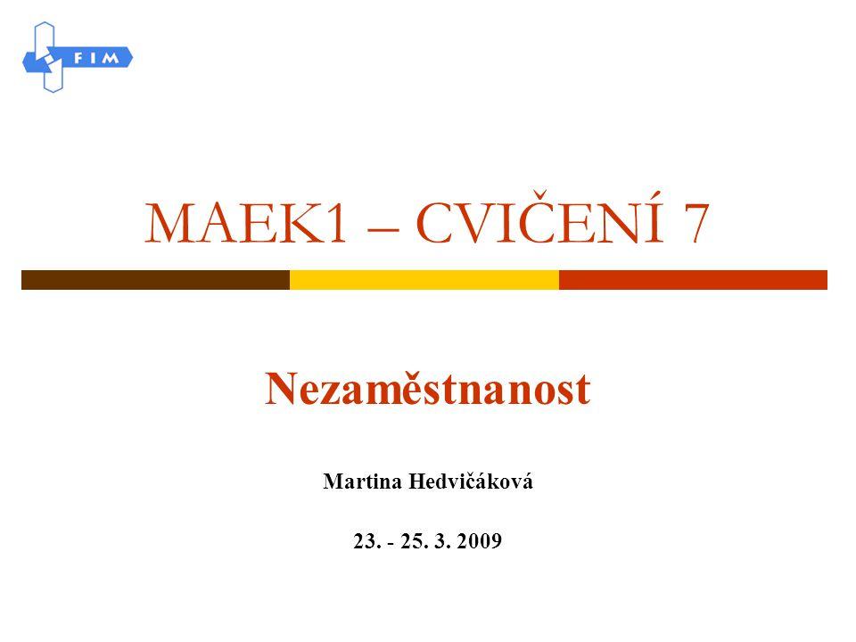 Nezaměstnanost Martina Hedvičáková 23. - 25. 3. 2009