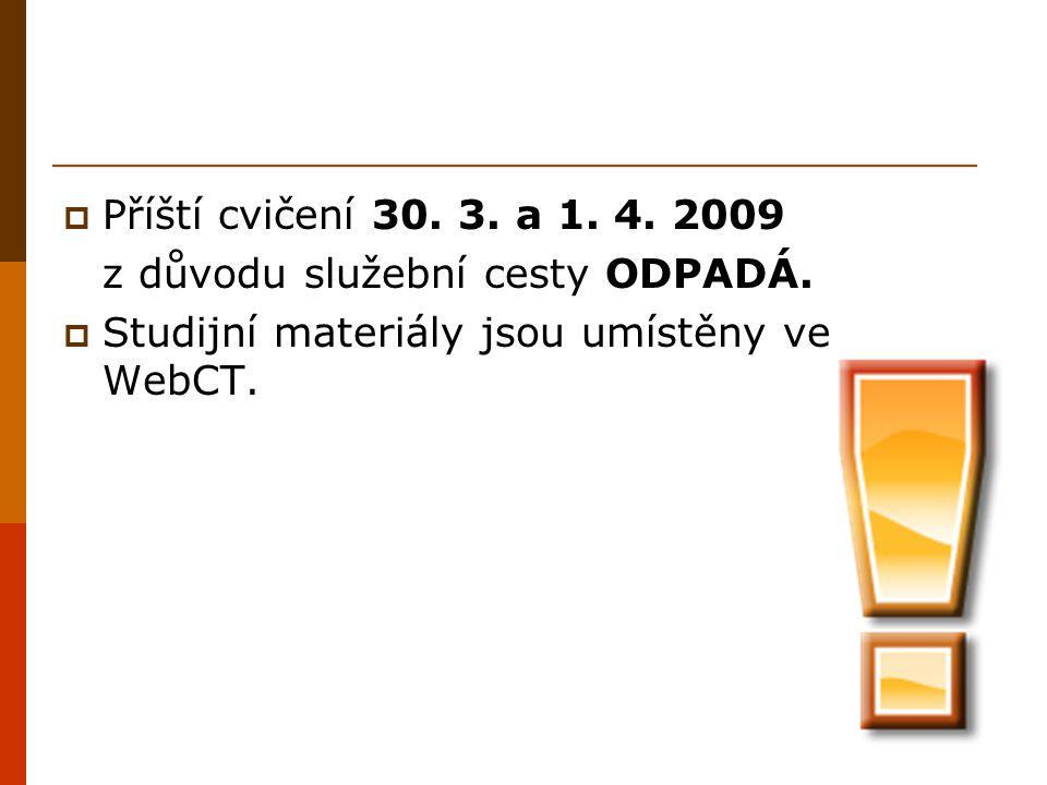 Příští cvičení 30. 3. a 1. 4. 2009 z důvodu služební cesty ODPADÁ.