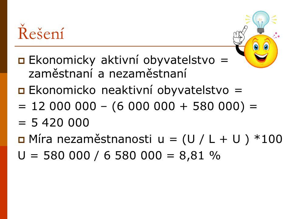 Řešení Ekonomicky aktivní obyvatelstvo = zaměstnaní a nezaměstnaní