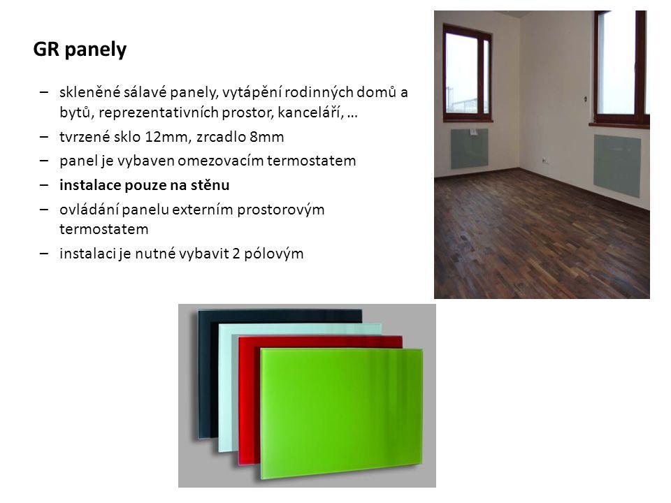 GR panely skleněné sálavé panely, vytápění rodinných domů a bytů, reprezentativních prostor, kanceláří, …