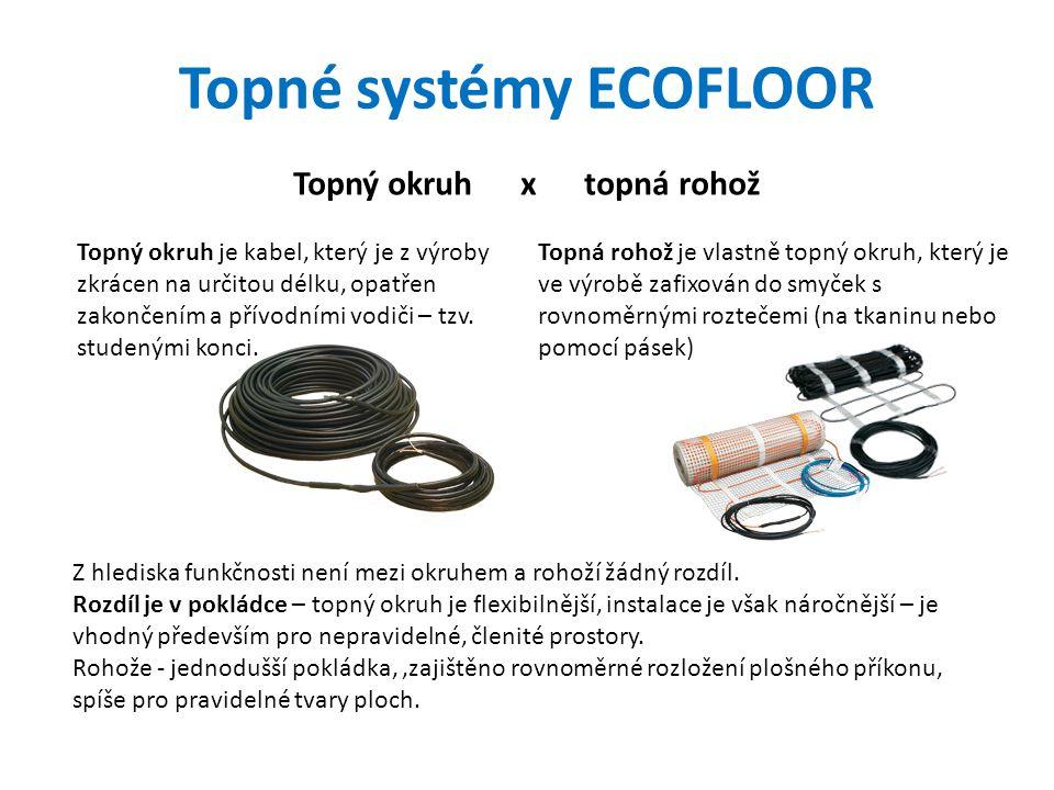 Topné systémy ECOFLOOR Topný okruh x topná rohož