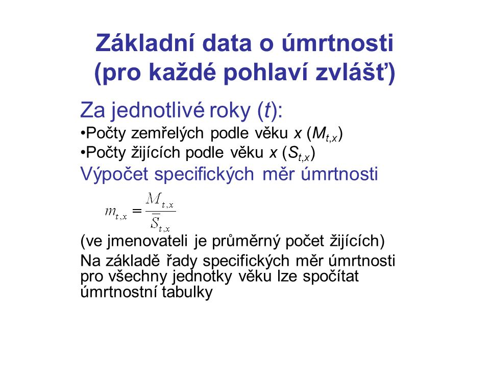 Základní data o úmrtnosti (pro každé pohlaví zvlášť)