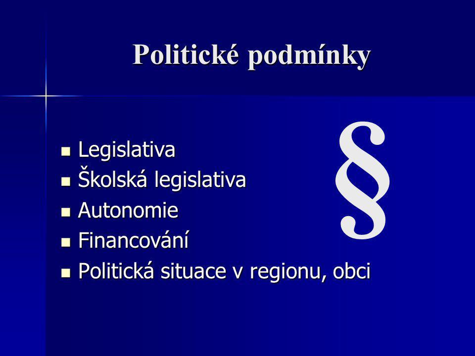 § Politické podmínky Legislativa Školská legislativa Autonomie
