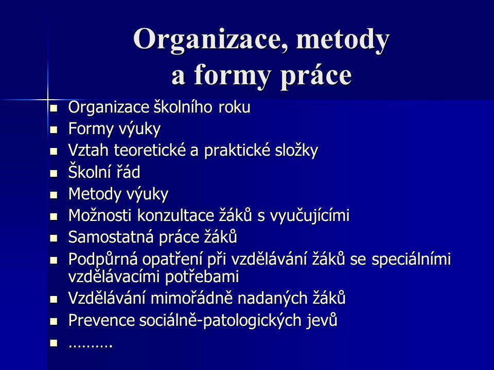 Organizace, metody a formy práce