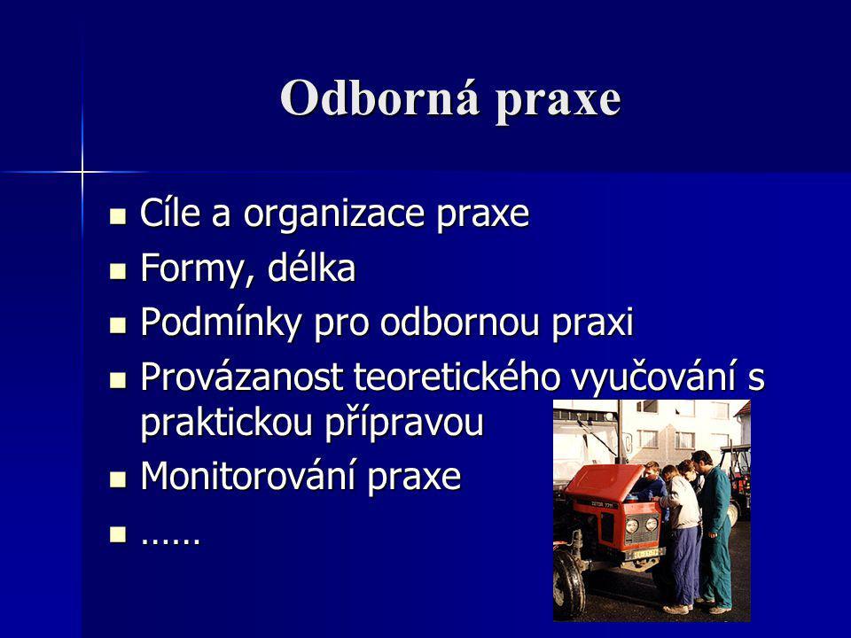 Odborná praxe Cíle a organizace praxe Formy, délka