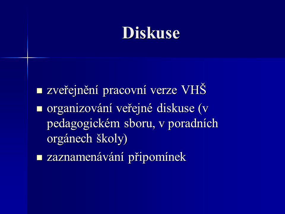 Diskuse zveřejnění pracovní verze VHŠ