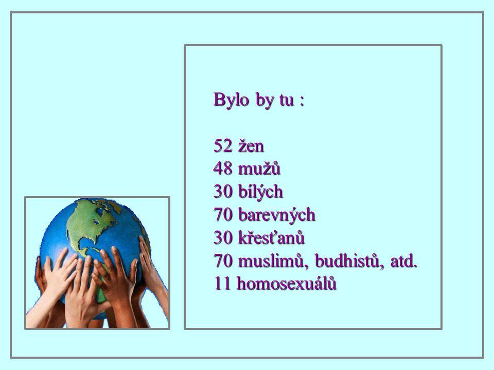 Bylo by tu : žen mužů bílých barevných křesťanů muslimů, budhistů, atd. 11 homosexuálů