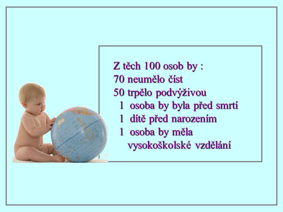 Z těch 100 osob by : neumělo číst. trpělo podvýživou. 1 osoba by byla před smrtí. 1 dítě před narozením.