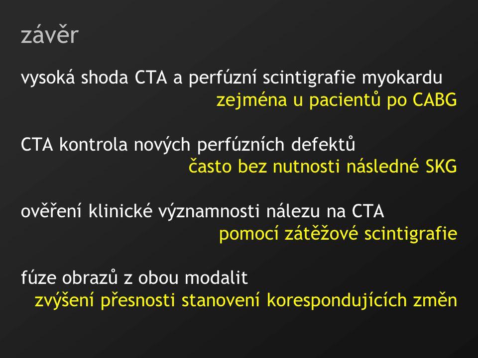závěr vysoká shoda CTA a perfúzní scintigrafie myokardu
