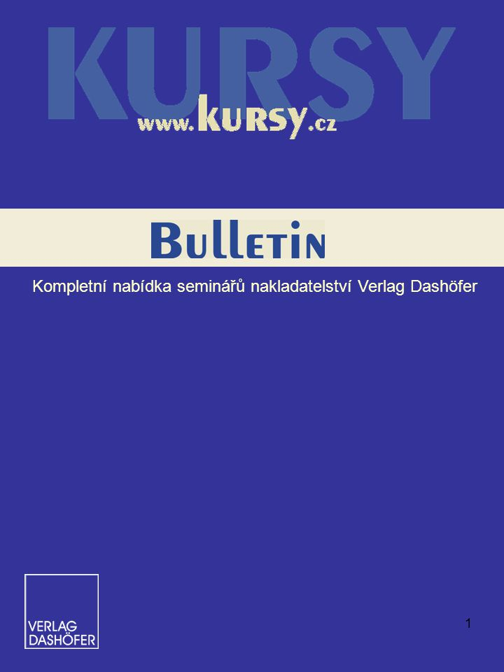 Kompletní nabídka seminářů nakladatelství Verlag Dashöfer