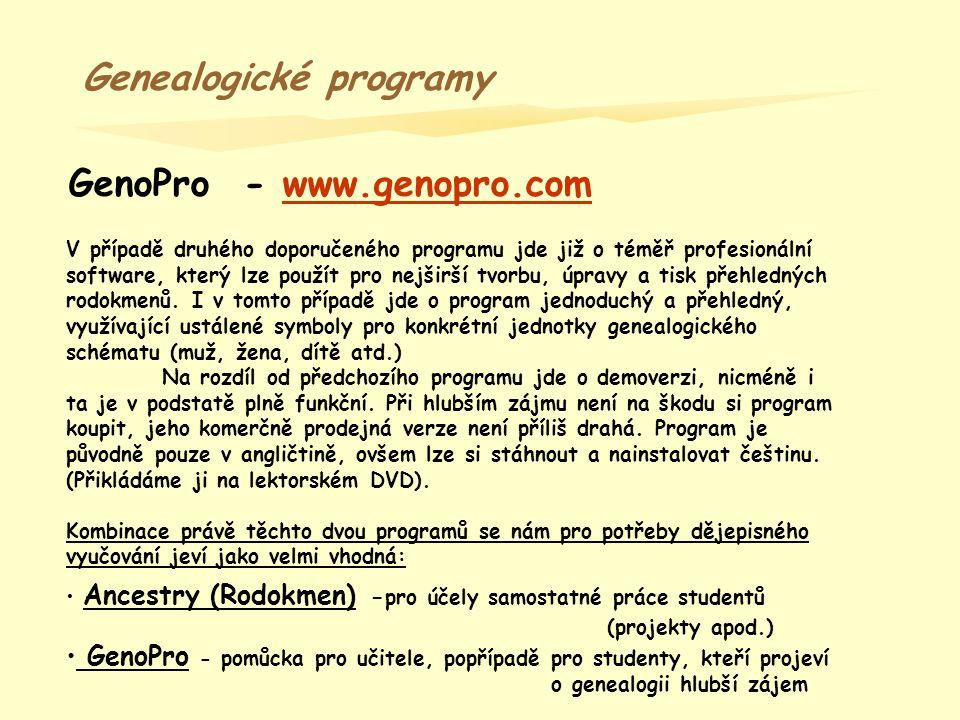 Genealogické programy GenoPro - www.genopro.com