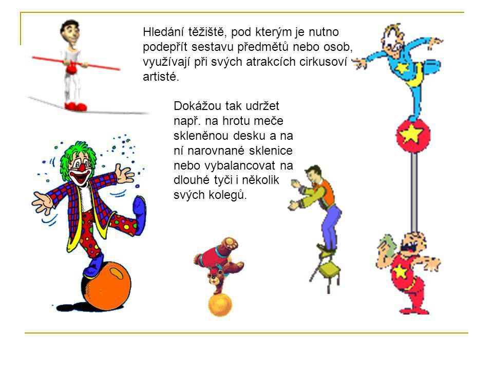 Hledání těžiště, pod kterým je nutno podepřít sestavu předmětů nebo osob, využívají při svých atrakcích cirkusoví artisté.