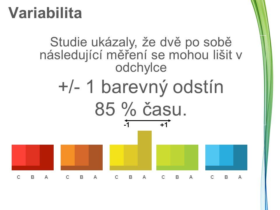 +/- 1 barevný odstín 85 % času. Variabilita