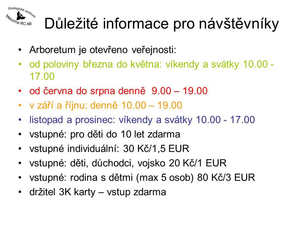 Důležité informace pro návštěvníky