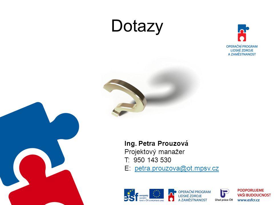 Dotazy Ing. Petra Prouzová Projektový manažer T: 950 143 530