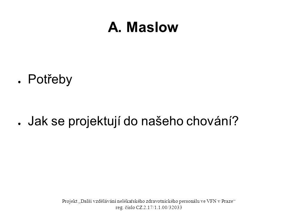A. Maslow Potřeby Jak se projektují do našeho chování