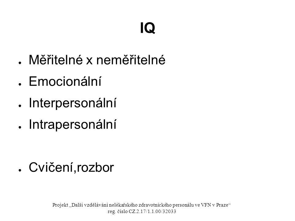IQ Měřitelné x neměřitelné Emocionální Interpersonální Intrapersonální