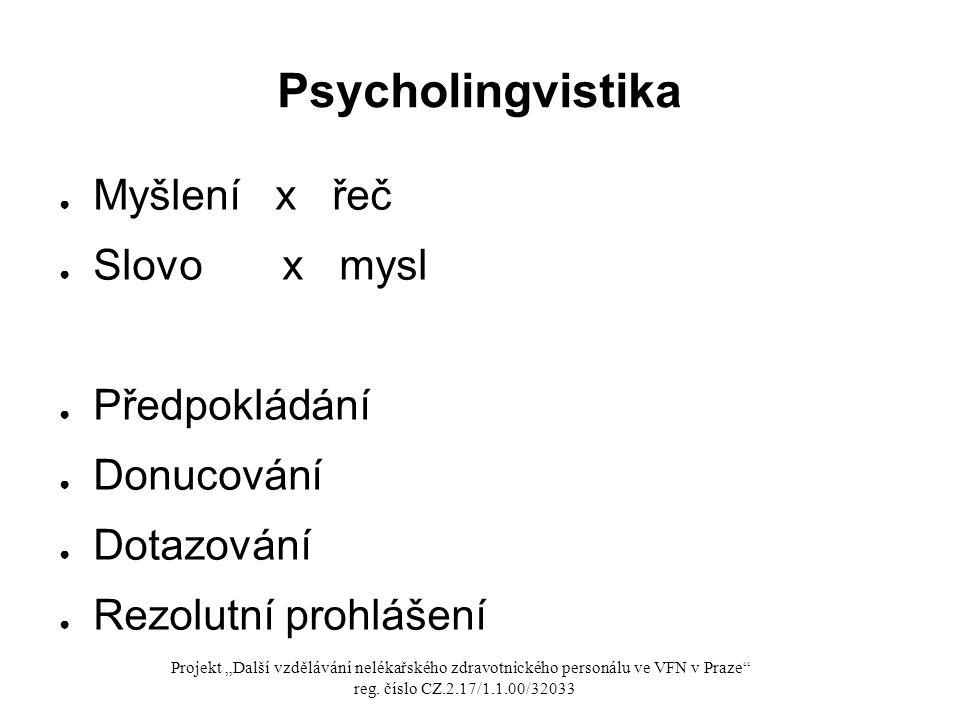 Psycholingvistika Myšlení x řeč Slovo x mysl Předpokládání Donucování