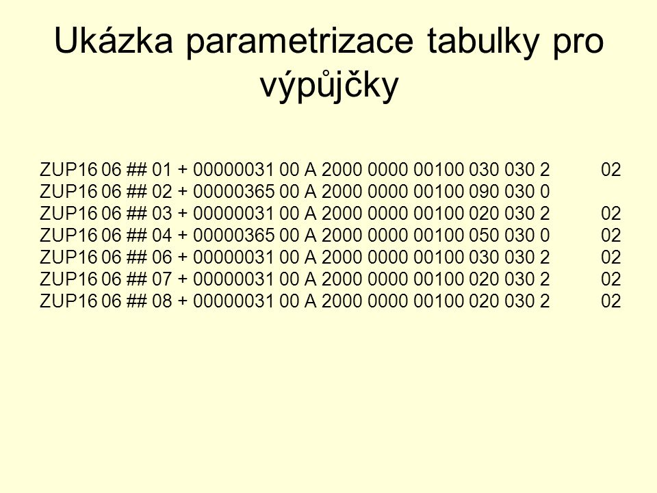 Ukázka parametrizace tabulky pro výpůjčky