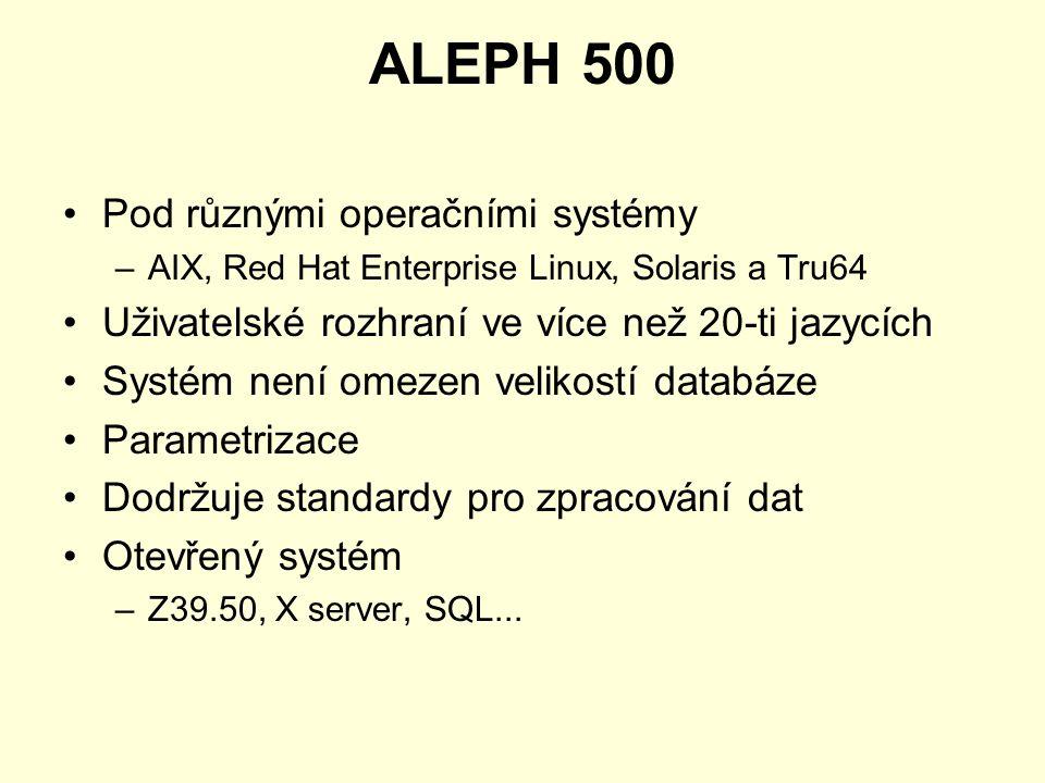 ALEPH 500 Pod různými operačními systémy