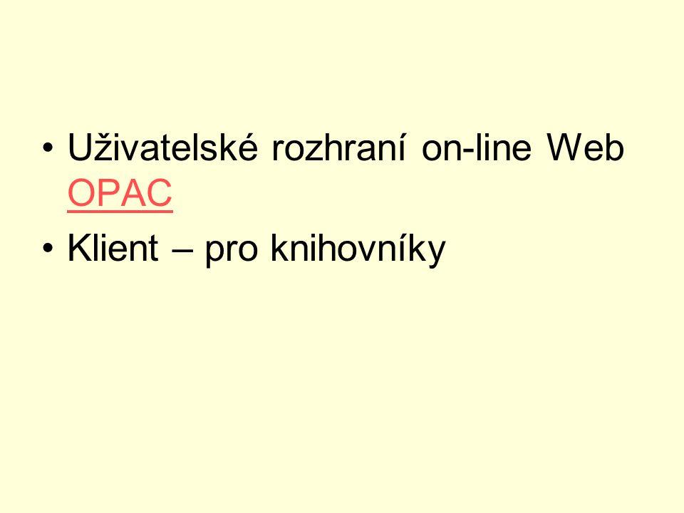 Uživatelské rozhraní on-line Web OPAC