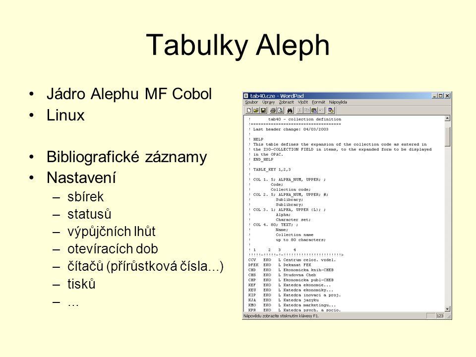 Tabulky Aleph Jádro Alephu MF Cobol Linux Bibliografické záznamy