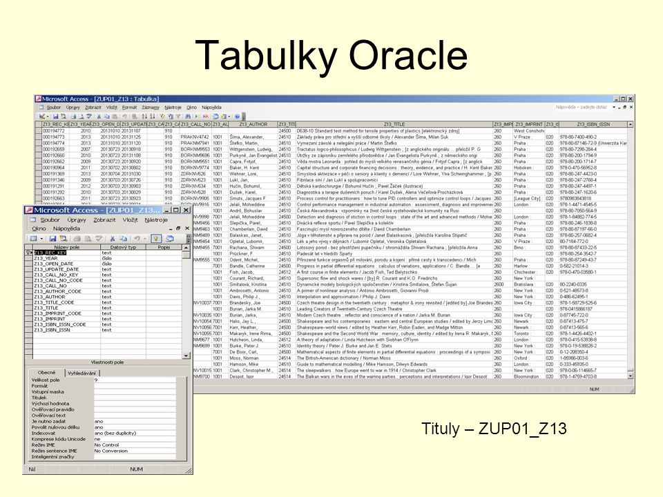 Tabulky Oracle Tituly – ZUP01_Z13