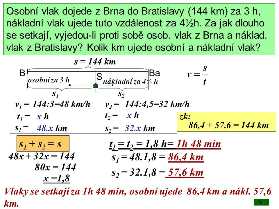 s1 + s2 = s t1 = t2 = 1,8 h= 1h 48 min s1 = 48.1,8 = 86,4 km
