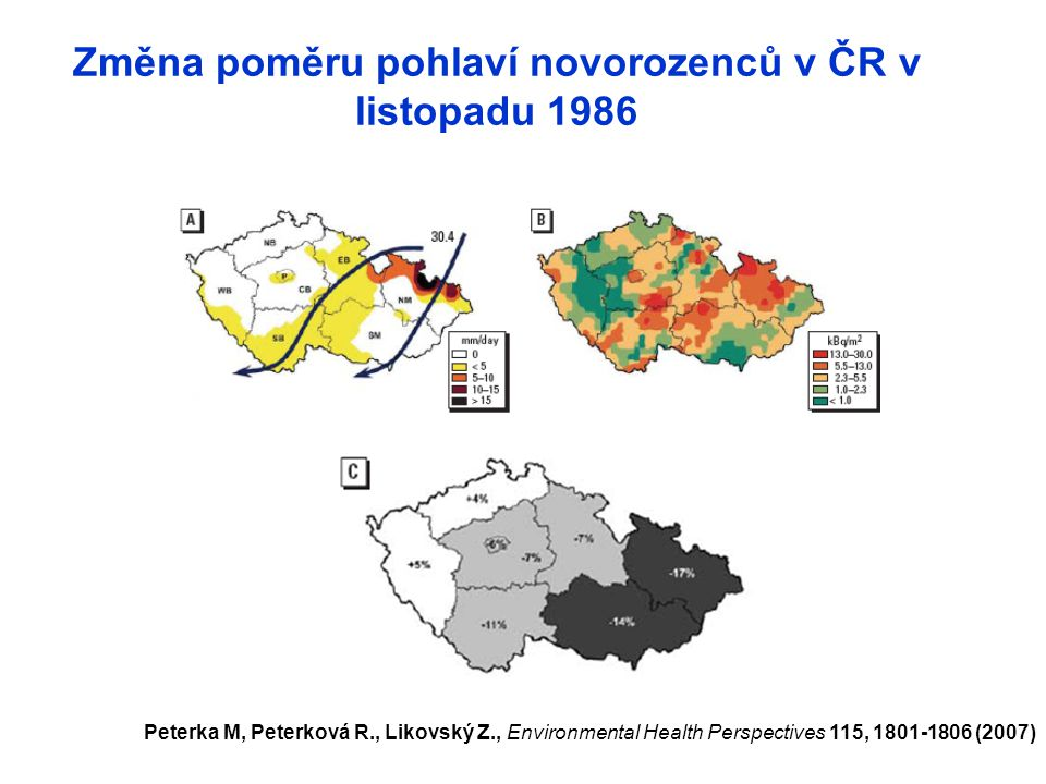 Změna poměru pohlaví novorozenců v ČR v listopadu 1986
