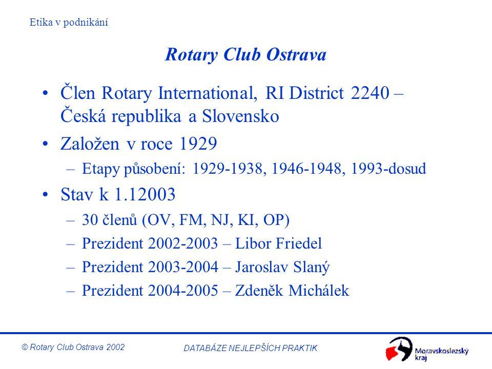 Rotary Club Ostrava Člen Rotary International, RI District 2240 – Česká republika a Slovensko. Založen v roce 1929.