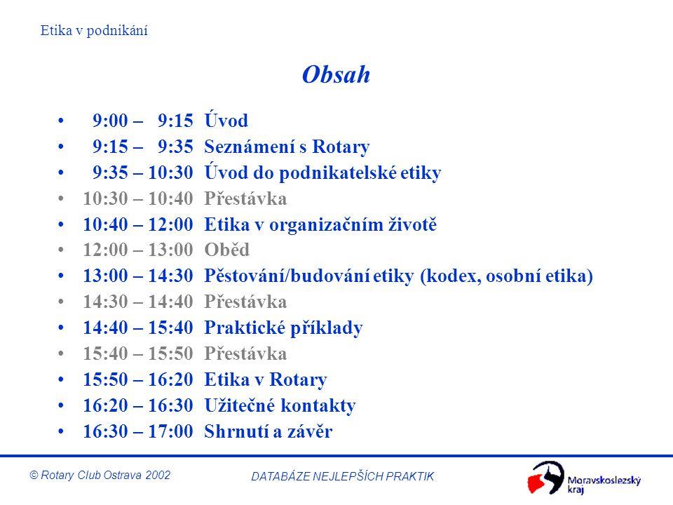 Obsah 9:00 – 9:15 Úvod 9:15 – 9:35 Seznámení s Rotary