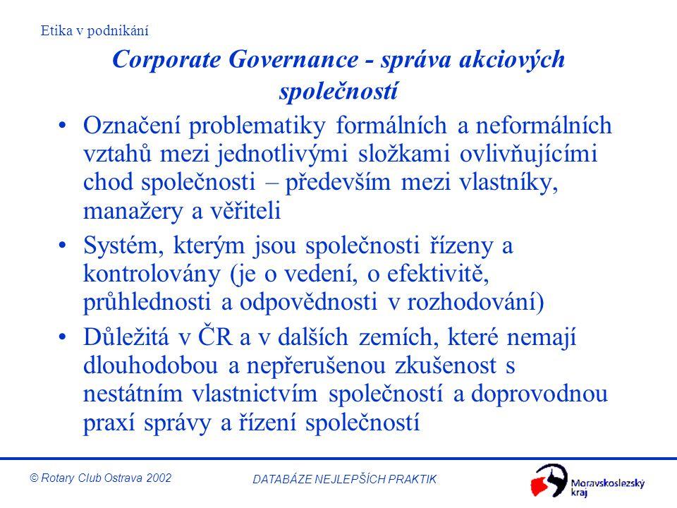 Corporate Governance - správa akciových společností