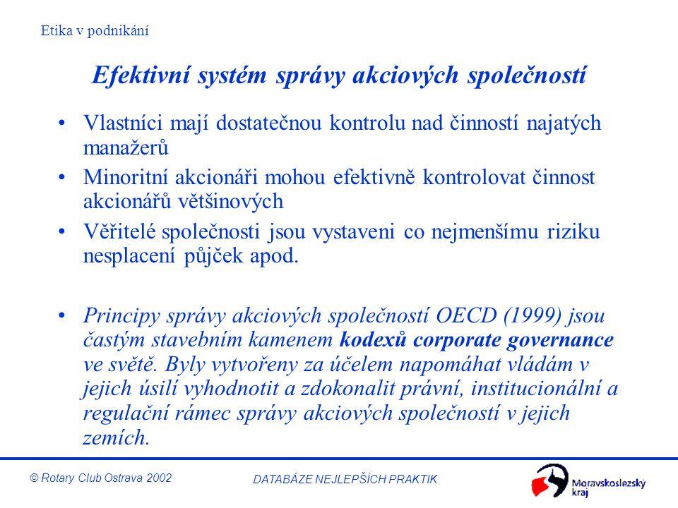 Efektivní systém správy akciových společností