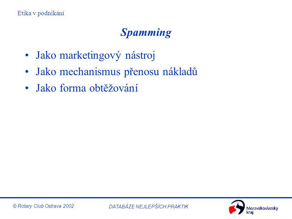 Spamming Jako marketingový nástroj Jako mechanismus přenosu nákladů Jako forma obtěžování
