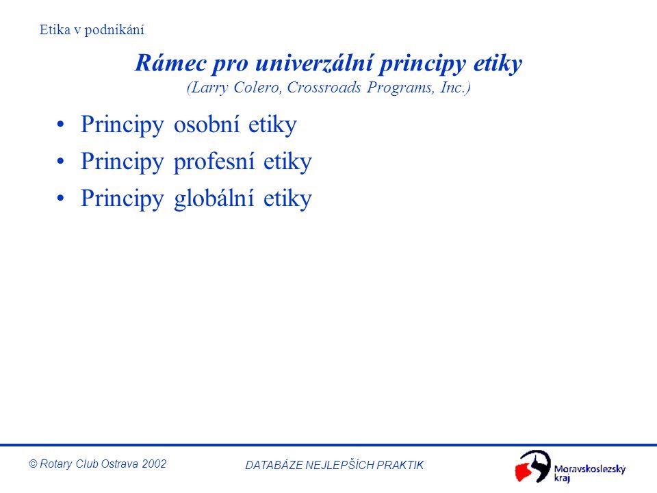 Rámec pro univerzální principy etiky (Larry Colero, Crossroads Programs, Inc.)