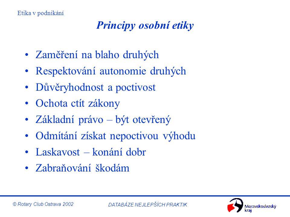 Principy osobní etiky Zaměření na blaho druhých. Respektování autonomie druhých. Důvěryhodnost a poctivost.