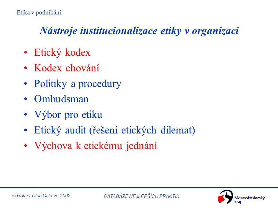 Nástroje institucionalizace etiky v organizaci