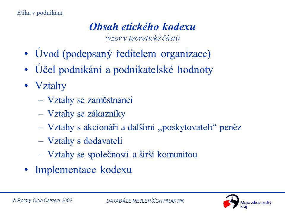 Obsah etického kodexu (vzor v teoretické části)