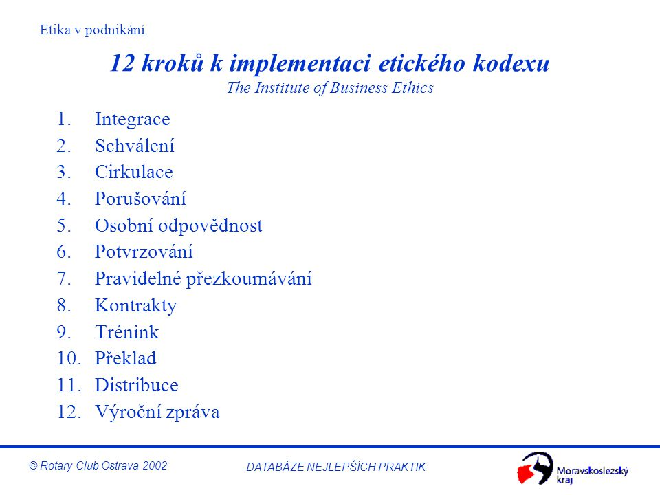 12 kroků k implementaci etického kodexu The Institute of Business Ethics