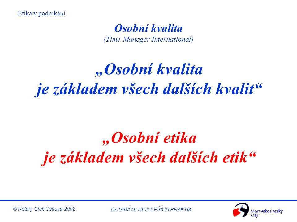 Osobní kvalita (Time Manager International)