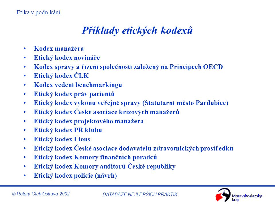 Příklady etických kodexů