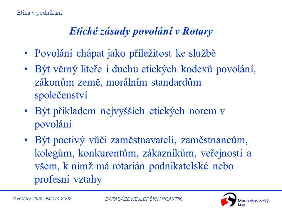 Etické zásady povolání v Rotary