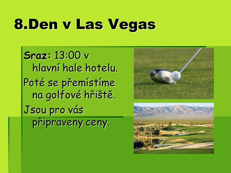 8.Den v Las Vegas Sraz: 13:00 v hlavní hale hotelu.