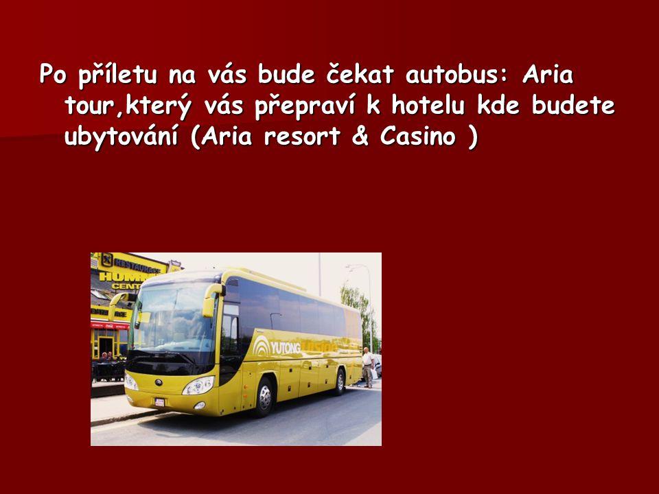 Po příletu na vás bude čekat autobus: Aria tour,který vás přepraví k hotelu kde budete ubytování (Aria resort & Casino )