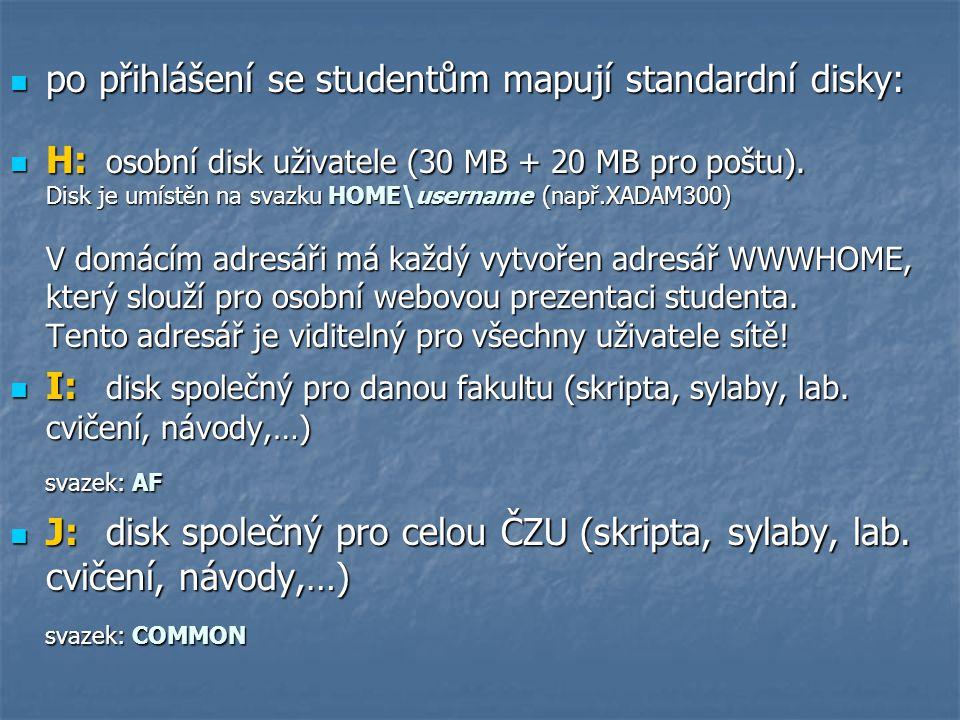 po přihlášení se studentům mapují standardní disky: