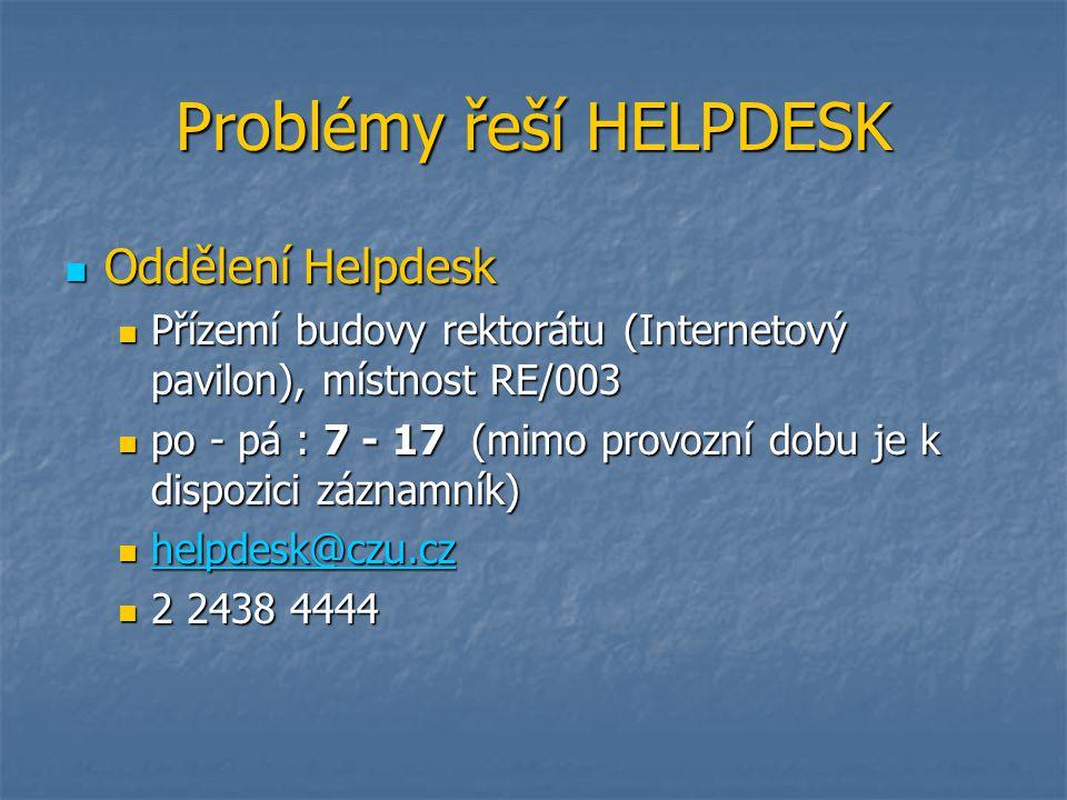 Problémy řeší HELPDESK